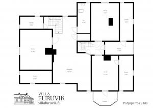 Villa Furuvik juhlatilat ja majoitus yläkerran pohjapiirros