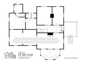 Villa Furuvik Helsinki juhlatilat pöytäkartta 38 henkilöä