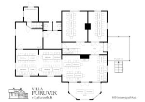 Villa Furuvik Helsinki juhlatilat pöytäkartta 100 henkilöä