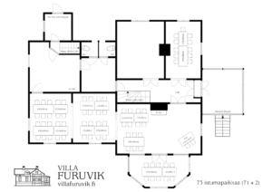 Villa Furuvik Helsinki juhlatilat pöytäkartta 73 henkilöä